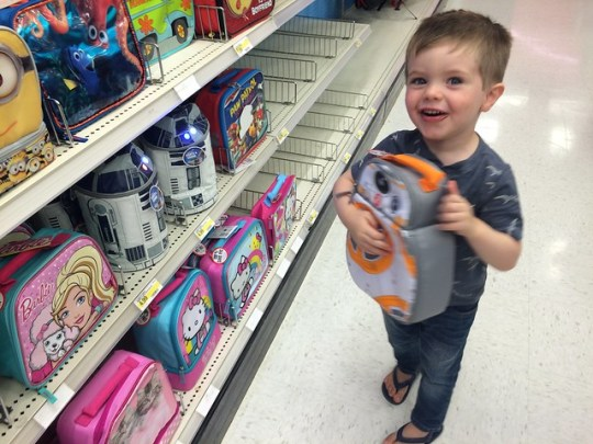 picking out his lunch box