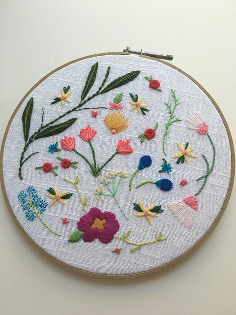 Embroidery free form flowers daisyeyes handmade