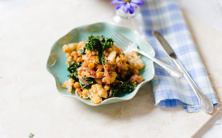 Cauliflower, Chickpea and Kale with Harissa