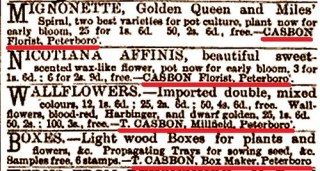 Casbon florist ads Gardening Illustrated Vol X 1888
