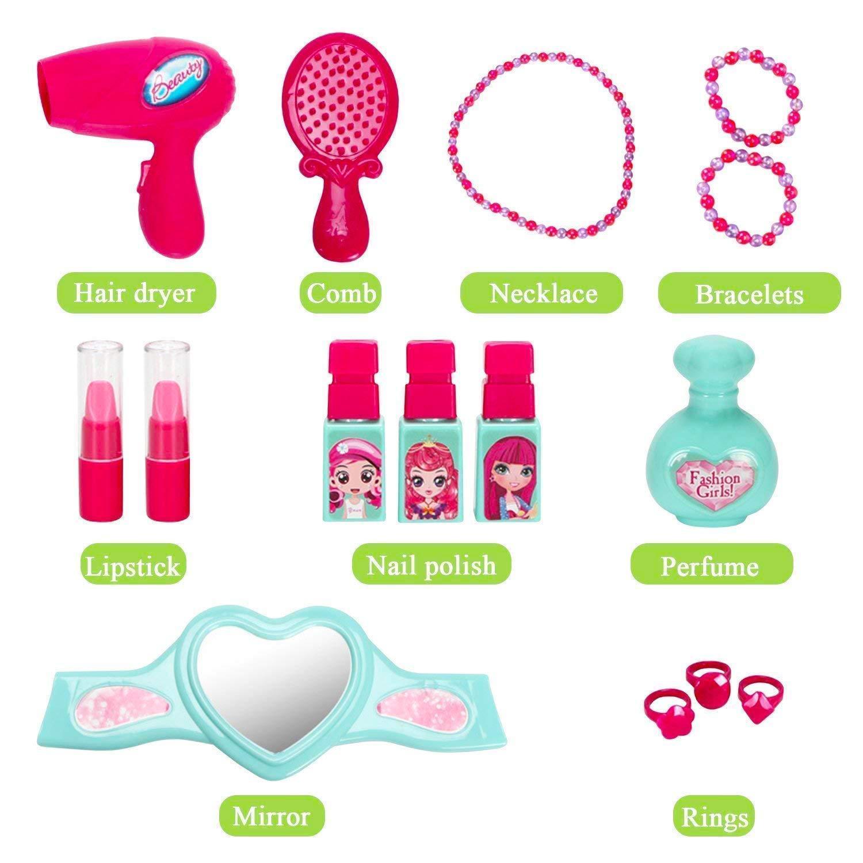 Little Girls Pretend Makeup Kit Cosmetic Pretend Play Set