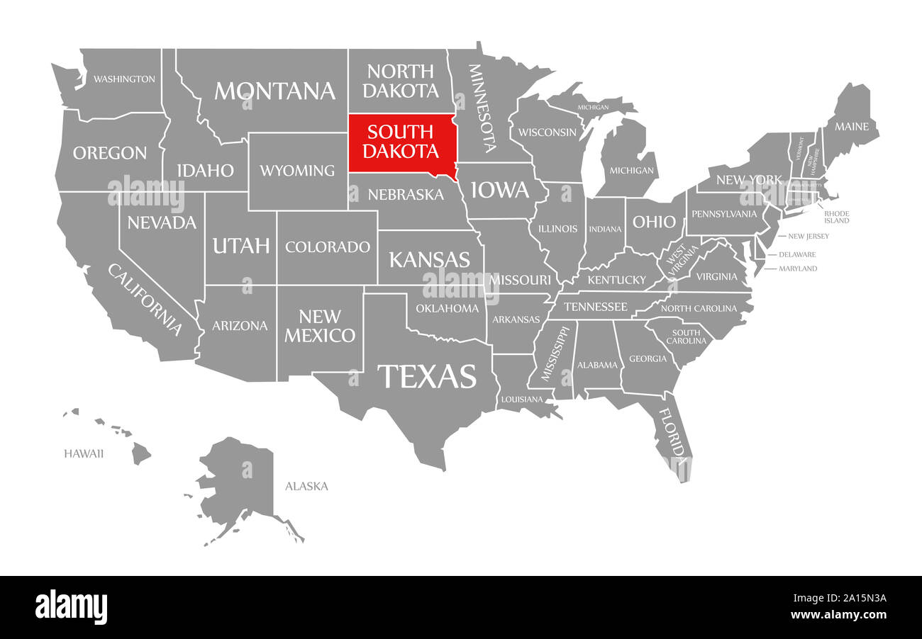 South Dakota Red Highlighted In Map Of The United States Of America Stock Photo Alamy