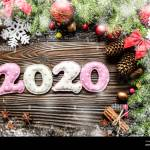 Colorful Stitched Digits 2020 Of Polkadot Fabric With Christmas Decorations Flat Lay On Wooden Background Stock Photo Alamy