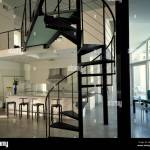 Black Metal Spiral Staircase And Gallery Stock Photo Alamy