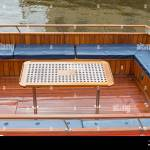 Desk And Bench Seats At Wooden Boat Deck Stock Photo Alamy
