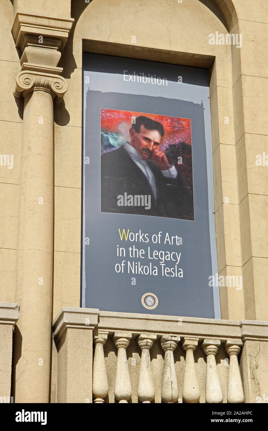 https www alamy com poster advertising works of art in the legacy of nikola tesla exhibition on the front facade of the nikola tesla museum central belgrade serbia image328459780 html