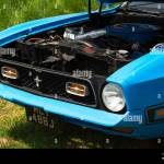 The Front Of A Blue 1971 Ford Mustang On Display At A Car Show Stock Photo Alamy