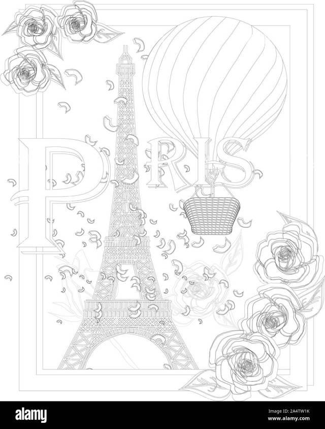 Zen art stylized Eiffel tower and air balloon. Sketch, poster