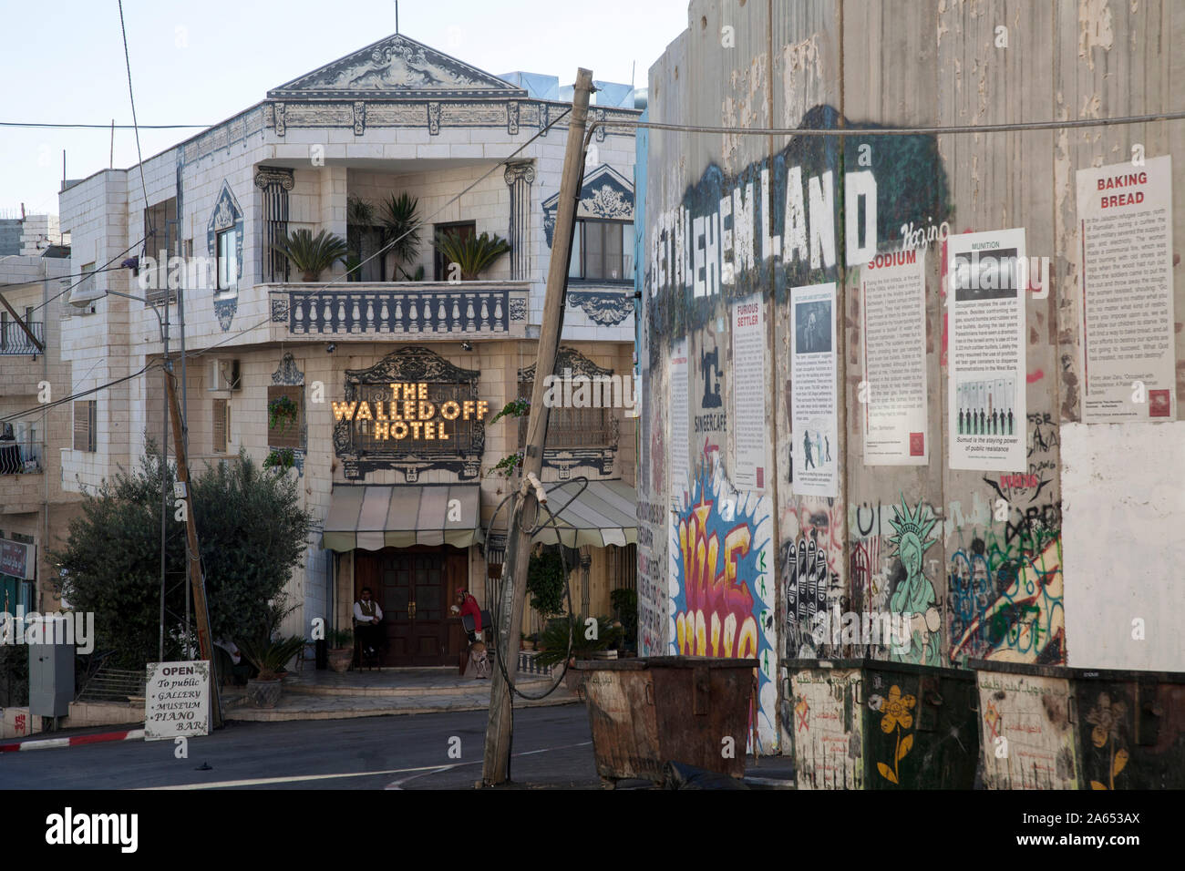 West Bank Bethlehem The Walled Off Hotel Overlooking The Wall That Separates Israel And Palestine Hotel Open In 2017 By Artist Bansky Stock Photo Alamy