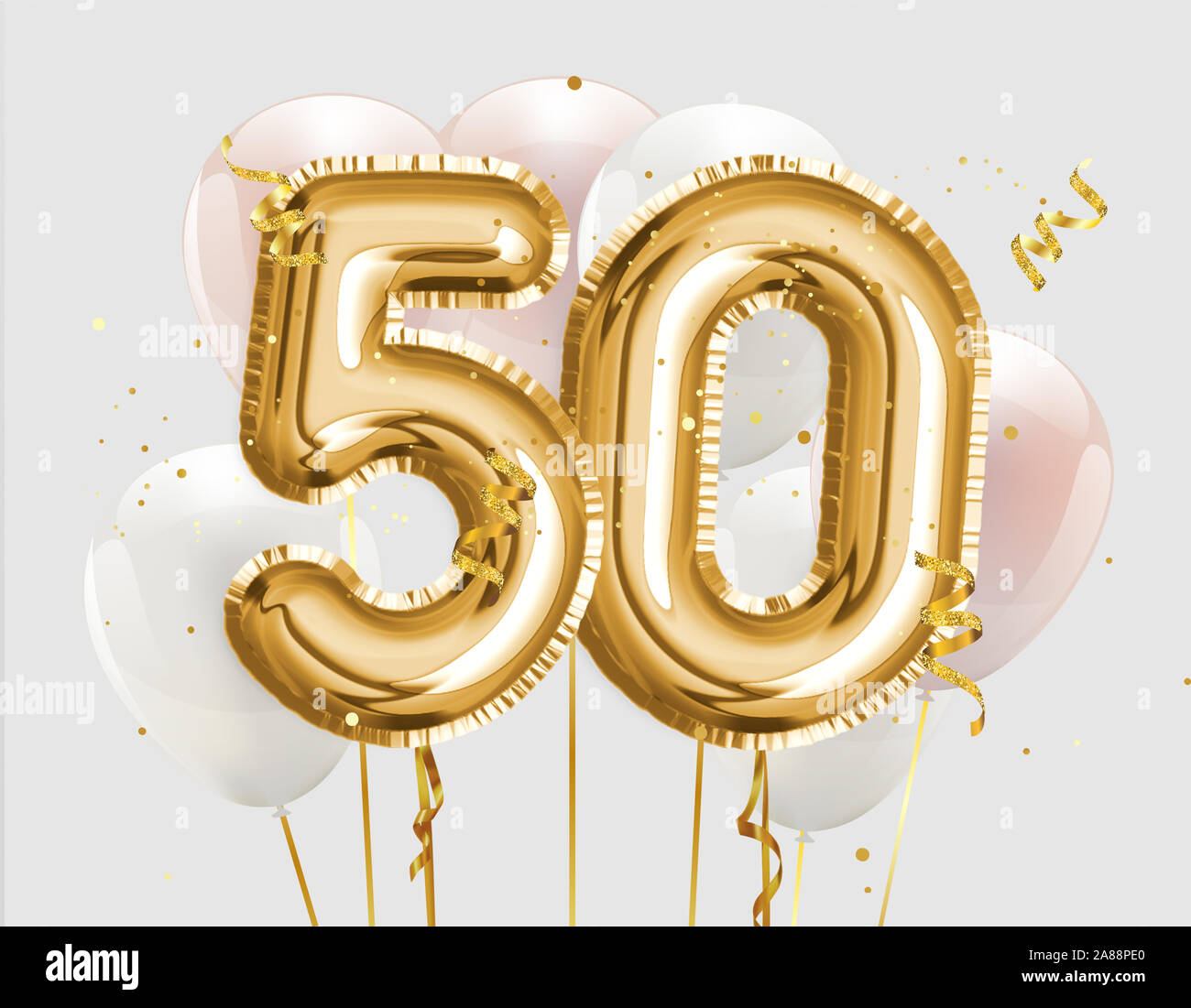 https www alamy com titolo happy 50th birthday gold foil balloon greeting background 50 years anniversary logo template 50th celebrating with confetti photo stock image332107496 html