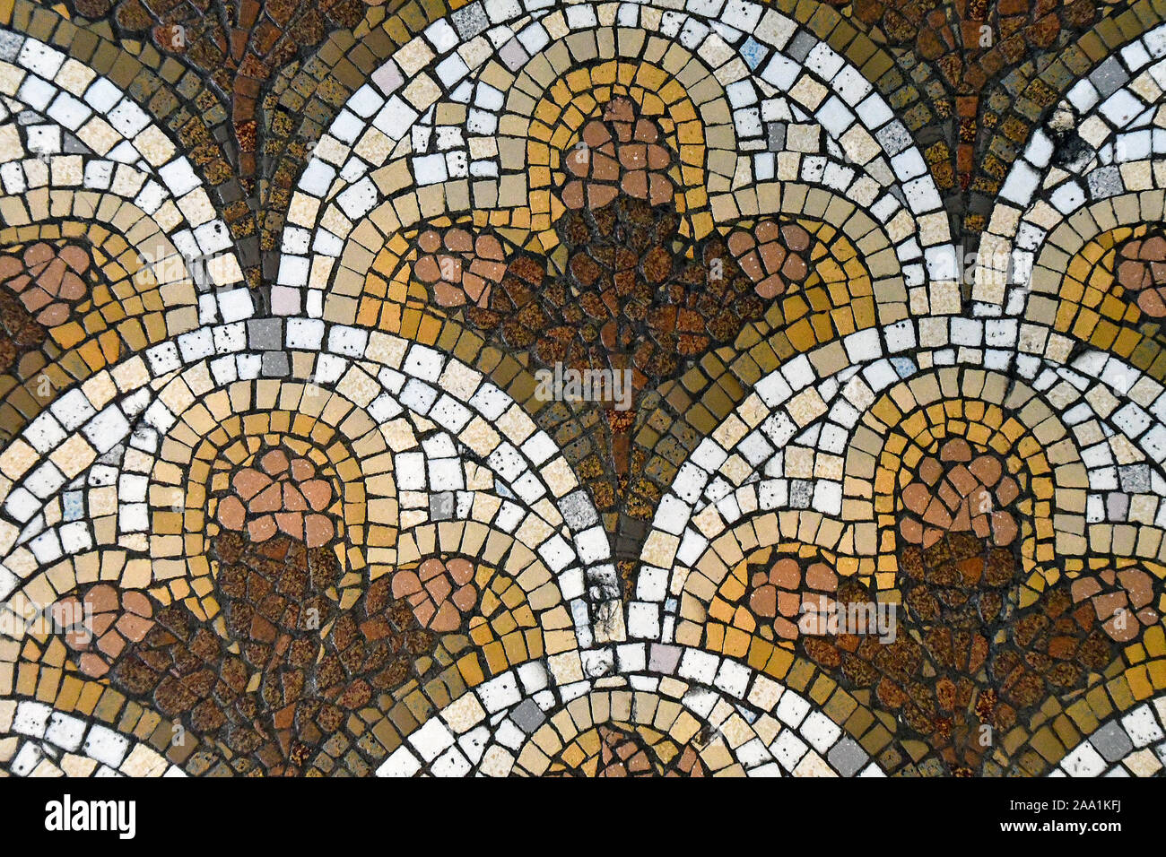 https www alamy com brown and gold ornate mosaic tile floor pattern image333180838 html