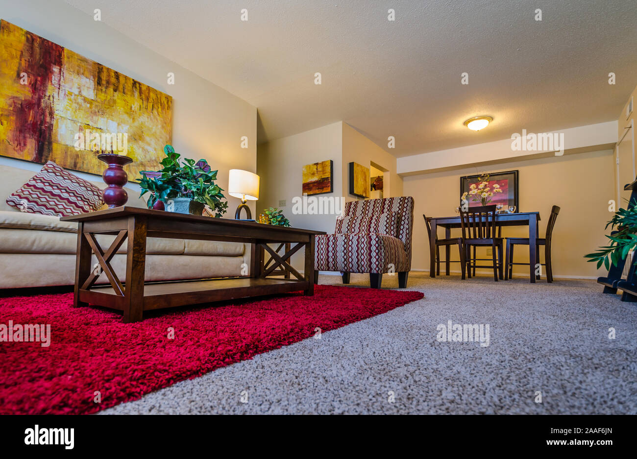 An Open Floor Plan Features A Living Room Dining Room Combo At Four Seasons Apartments In Mobile Alabama Stock Photo Alamy