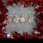 Christmas Decoration Red And Silver Twisted Tinsel Garland As A Frame Silver Glitter Background Stock Photo Alamy