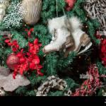 Vintage Christmas Tree Decorations On A Christmas Fur Tree Stock Photo Alamy