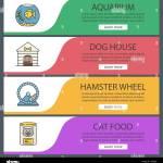 Pets Suppplies Web Banner Templates Set Aquarium Dog House Hamster Wheel Cat Food Website Color Menu Items Vector Headers Design Concepts Stock Vector Image Art Alamy