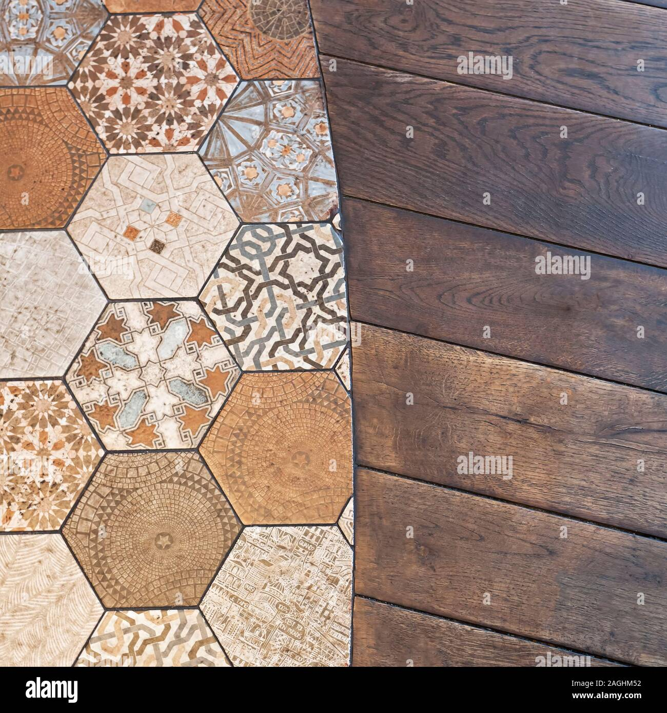 https www alamy com decoration in modern style flooring combination with wood and ceramic detail of a junction image337220494 html