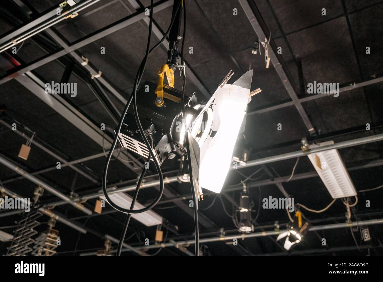 https www alamy com tv studio lights the ceiling of a tv studio with the lighting equipment image337380556 html