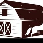 Farm Barn And White Horse Vector Graphic Design Element Stock Vector Image Art Alamy