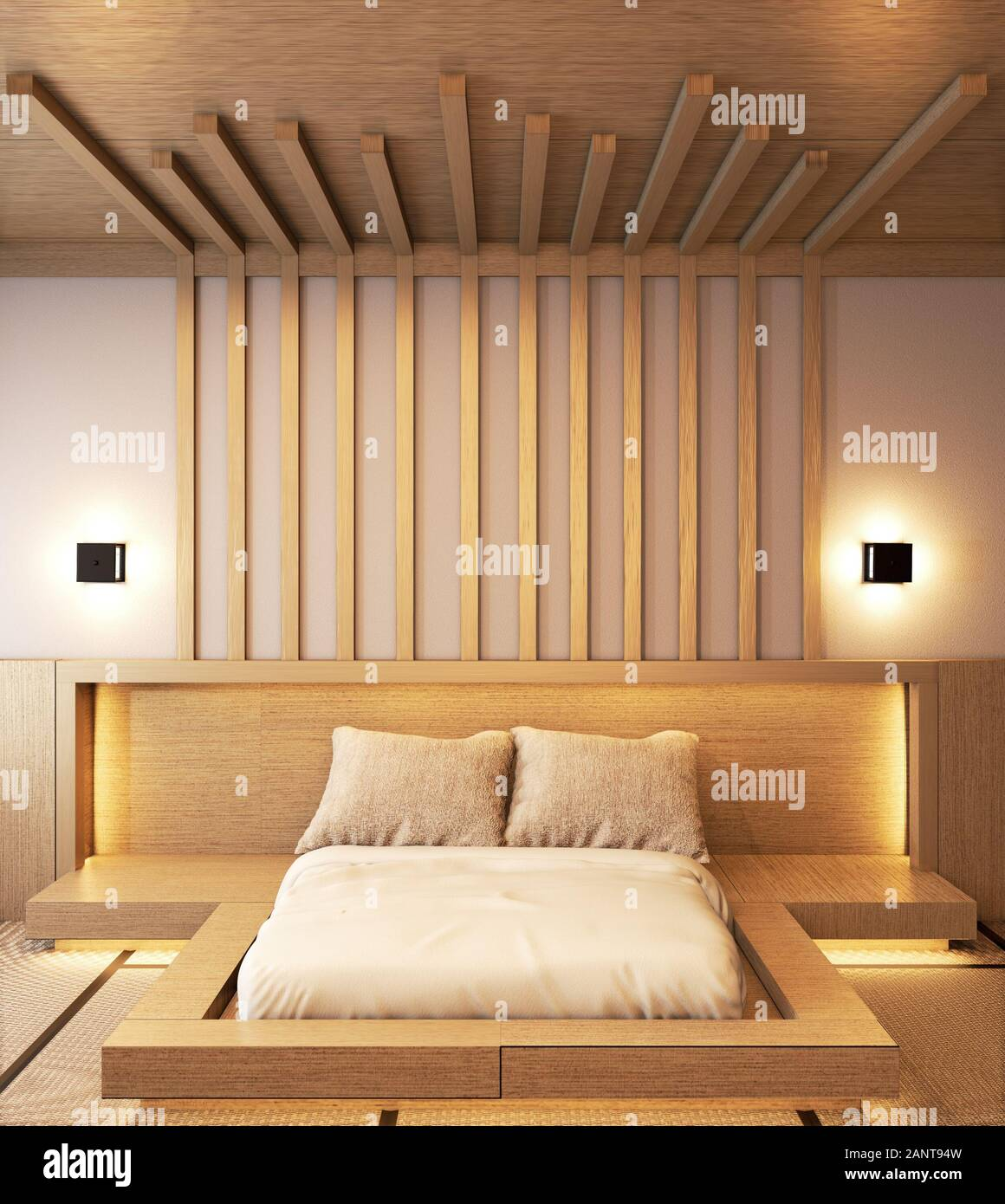 How you arrange bedroom furniture can make a night and day difference. Bedroom Design Japanese Wooden With Battens And Hiden Light Wall Design 3d Rendering Stock Photo Alamy