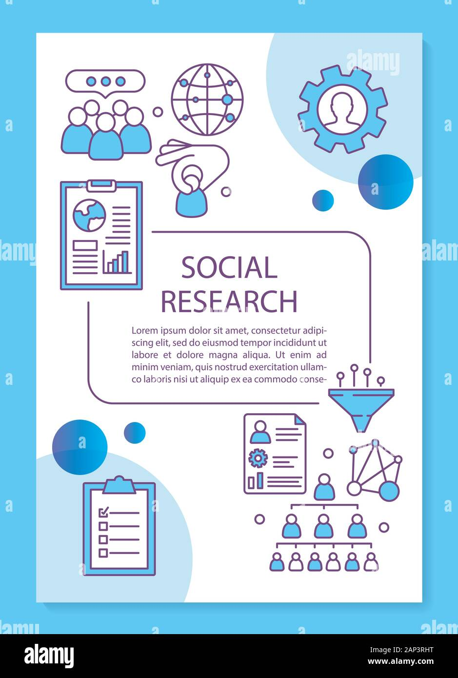 https www alamy com social research poster template layout social sciences interpersonal relations banner booklet leaflet print design with linear icons vector broc image340603812 html