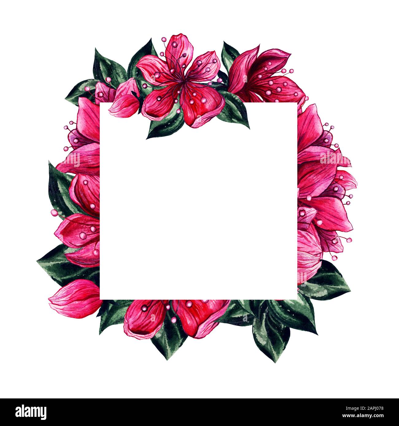https www alamy com flower frame wedding invitation card background design template watercolor floral decoration frame of japanese plum blossom flower petals vintage graphic for save the date and wedding greeting image340914764 html