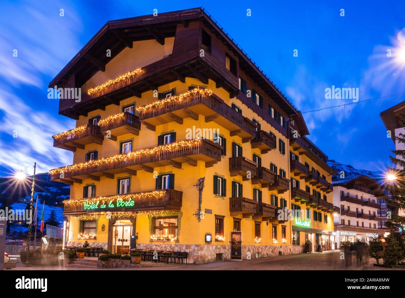For those interested in checking out popular landmarks while visiting cortina d'ampezzo, de la poste is located a short distance from busto di angelo dibona (0.1 mi) and. Cortina D Ampezzo Italy February 3 2020 Hotel De La Poste In Cortina D Ampezzo Italy On A Winter Evening A Famous Hotel And Restaurant On The Co Stock Photo Alamy