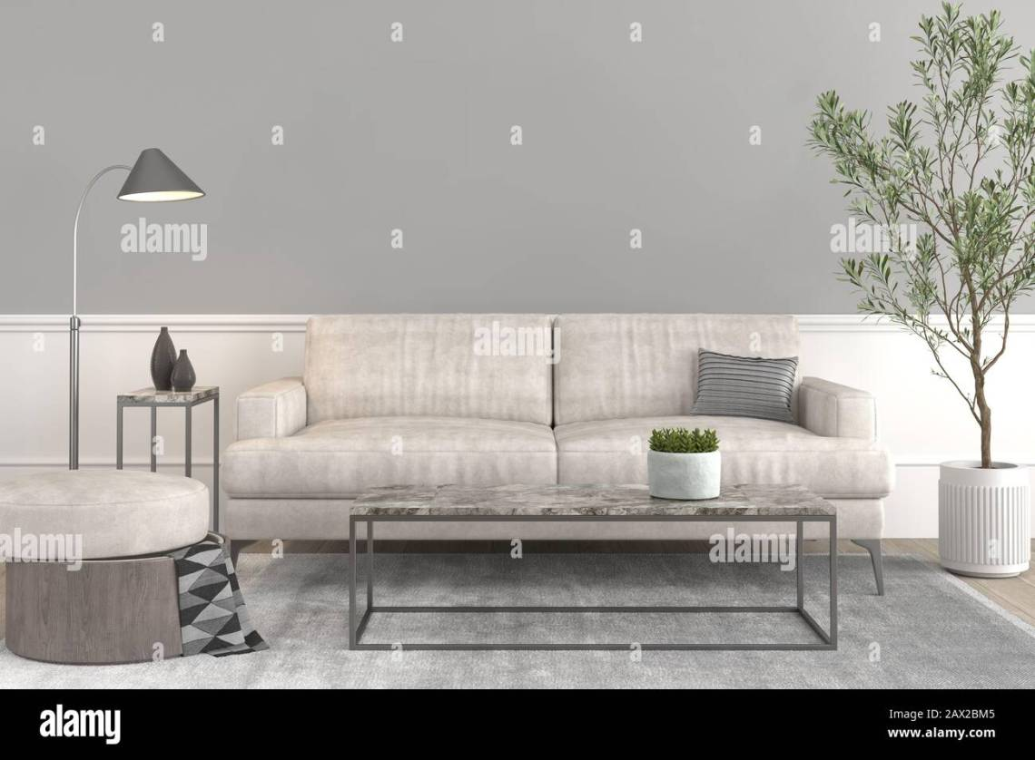 Interior Design Setup Modern Elegant Living Room With Leather Couch And Puff Coffe Table Lamp Plant On A Pot And Some Decoration Props On Grey Emp Stock Photo Alamy