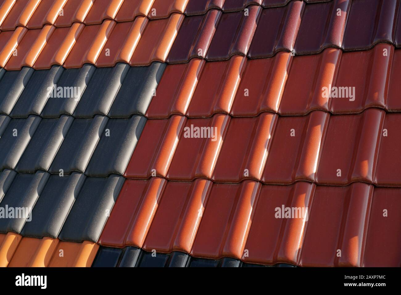 https www alamy com roofing roof covered with tiles in different colors image343467052 html