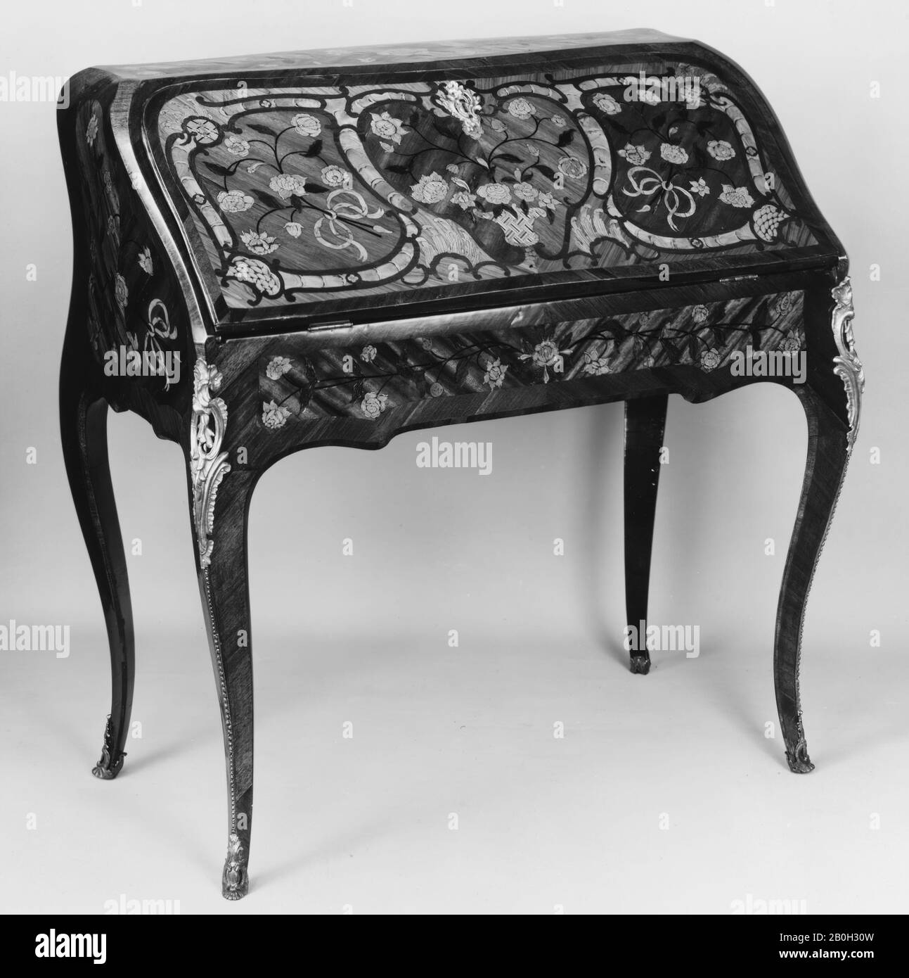 Jean Baptiste I Tuart Slant Top Desk French Jean Baptiste I Tuart Ca 1700 Ca 1767 Master 1741 Mid 18th Century French Tulipwood Satine Satinwood Kingwood And Green Stained Wood Leather 38 36 1 2 20 In