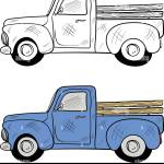 Retro Blue Pickup Truck Side View Vintage Color Engraving Illustration For Poster Web Isolated On White Background Hand Drawn Design Element Stock Vector Image Art Alamy