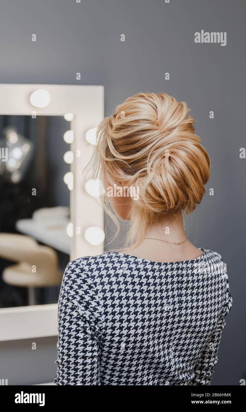 Close Up Detail Of French Twist Hairstyle Back Rear View At Hairdresser Salon Stock Photo Alamy