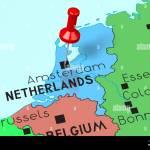 Netherlands Amsterdam Capital City Pinned On Political Map Stock Photo Alamy