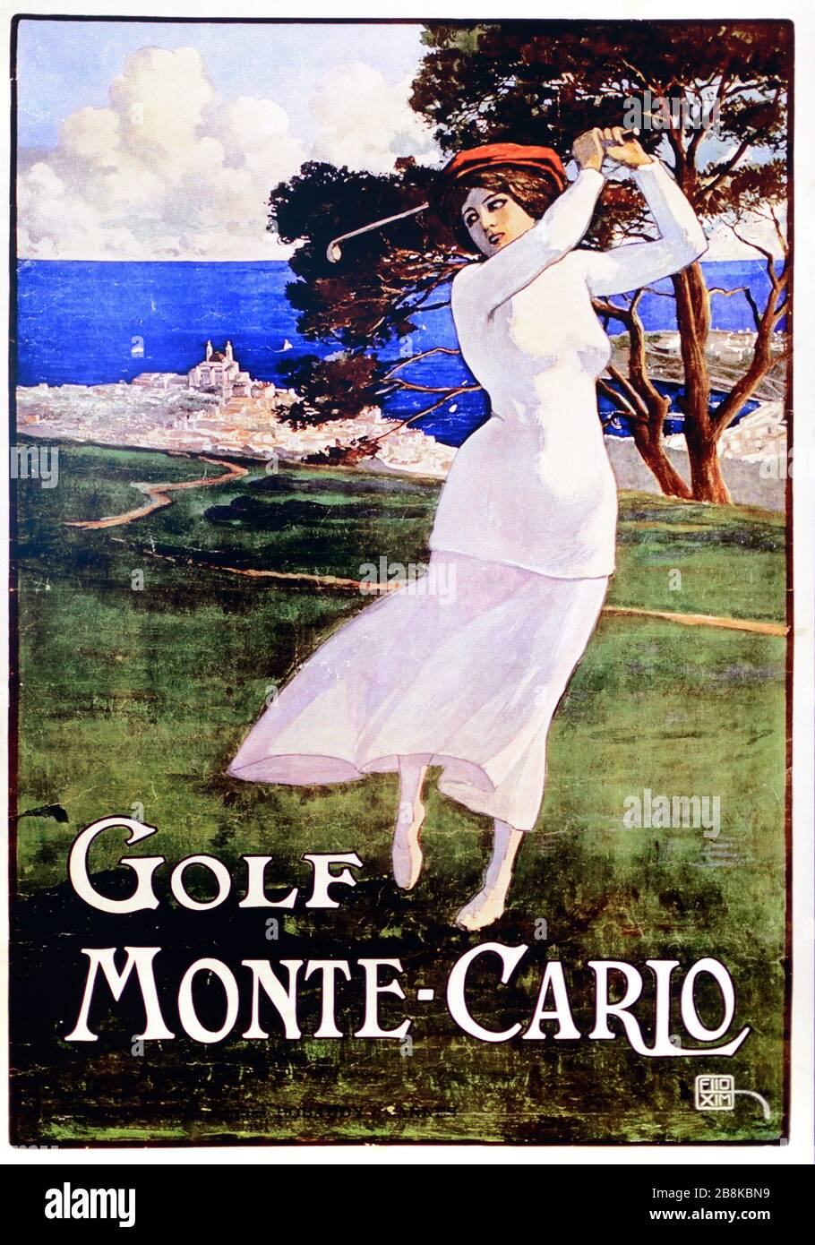 https www alamy com female golfer in vintage golf advert monte carlo golf course monaco vintage advert illustration or old poster from 1920s image349550917 html