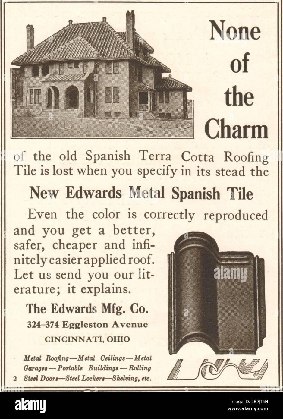 https www alamy com none of the charm new edwards metal spanish tile the edwards manufacturing co 324 374 eggleston avenue cincinnati ohio 1921 image350153373 html