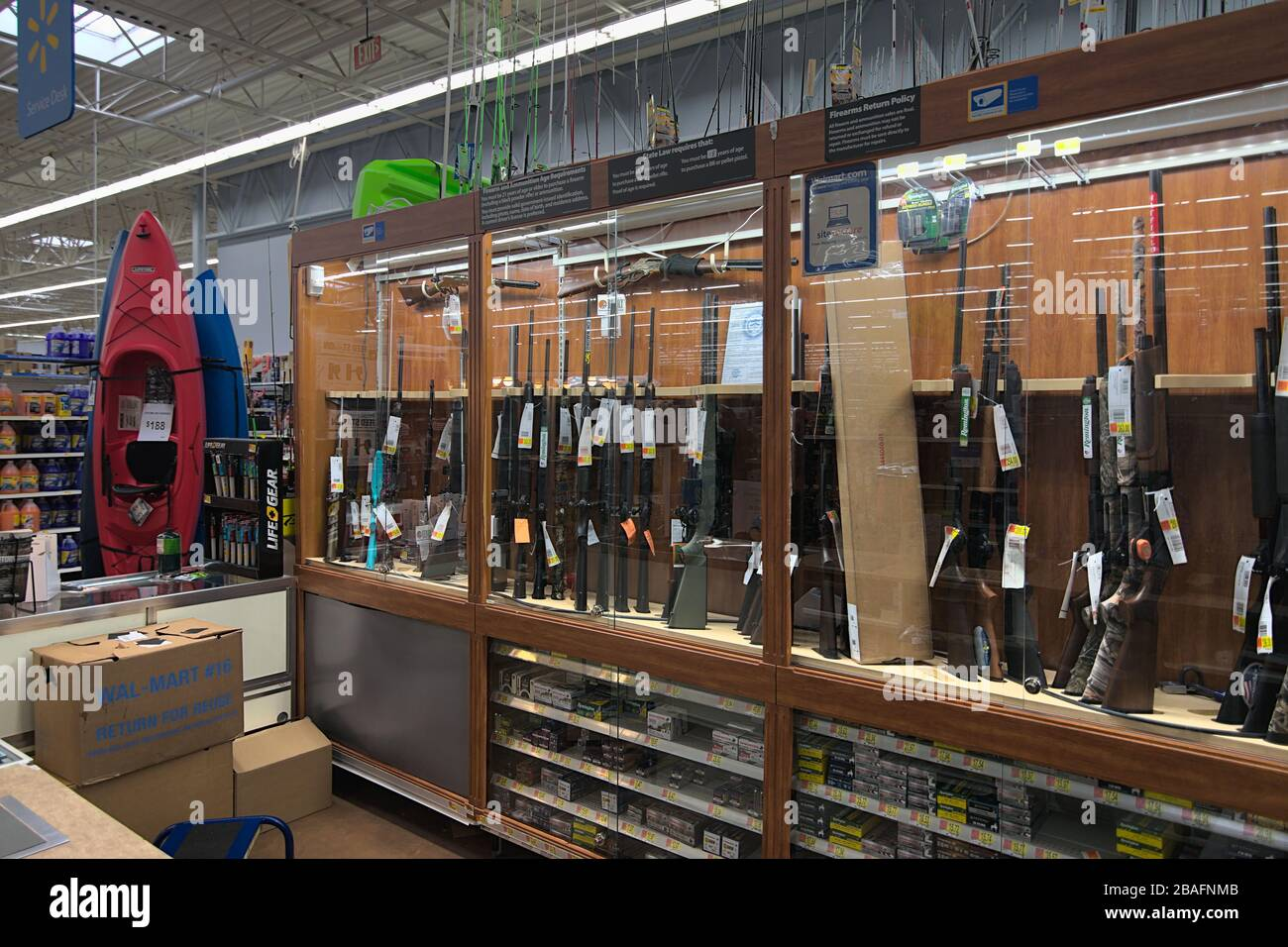 https www alamy com norton virginiaunited states of america february 29th 2020 the firearmsgun case in the sporting goods department at a walmart in virginia image350700235 html