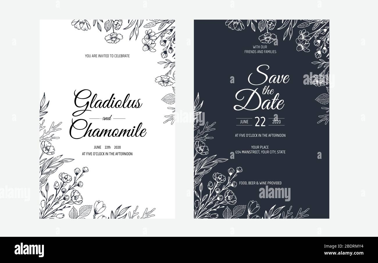 https www alamy com minimalist wedding invitation card template design template frame with delicate flowers branches plants image352719224 html