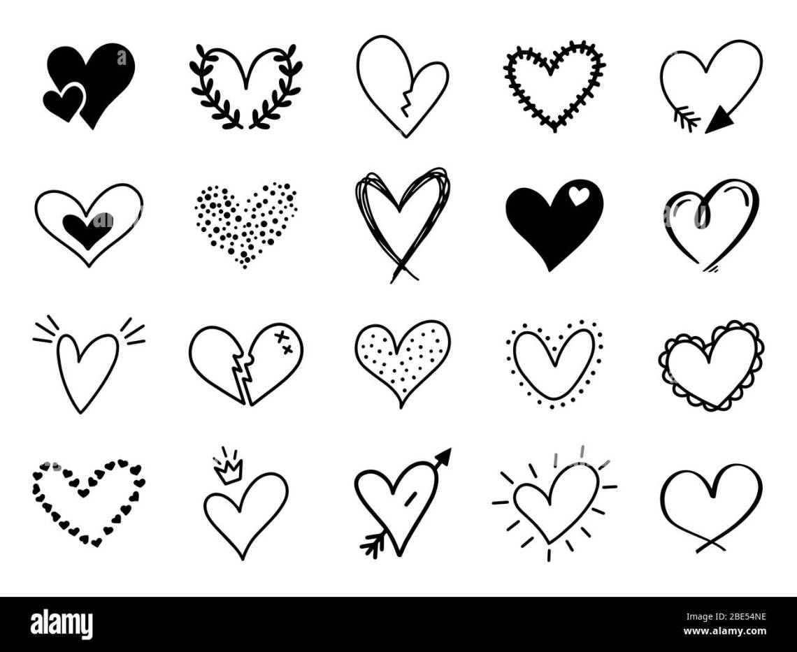 Download Doodle love heart. Loving cute hand drawn sketched hearts ...