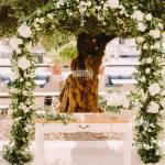 Elegant Wedding Arch In Olive Trees Park White Wedding Reception Venue Destination Wedding Venue Luxury Wedding In The Garden Stock Photo Alamy