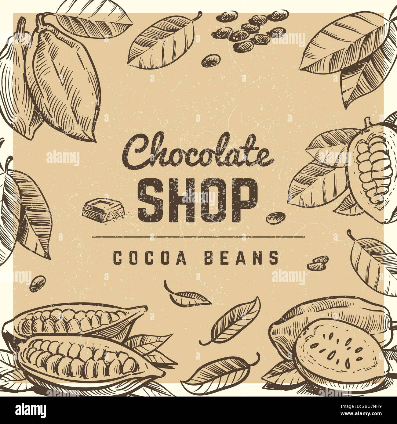 https www alamy com chocolate shop vintage poster and banner design with sketched chocolate bar and cocoa beans illustration vector image354212469 html