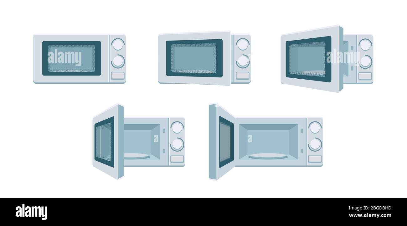 https www alamy com modern microwave set ready for animation open and close oven poses in front view degree of openness cooking stove vector kitchen appliance digital concept illustration isolated on white background image354336345 html