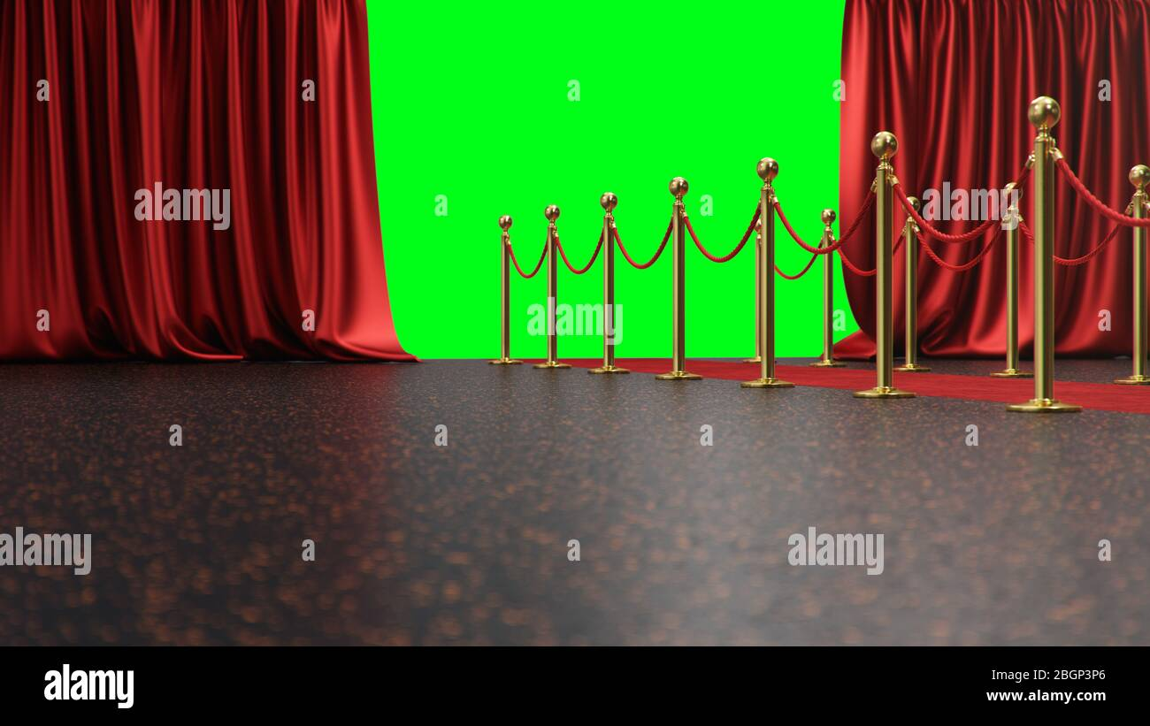 https www alamy com awards show background with red curtains open on green screen red velvet carpet between golden barriers connected by a red rope curtains theater image354527774 html