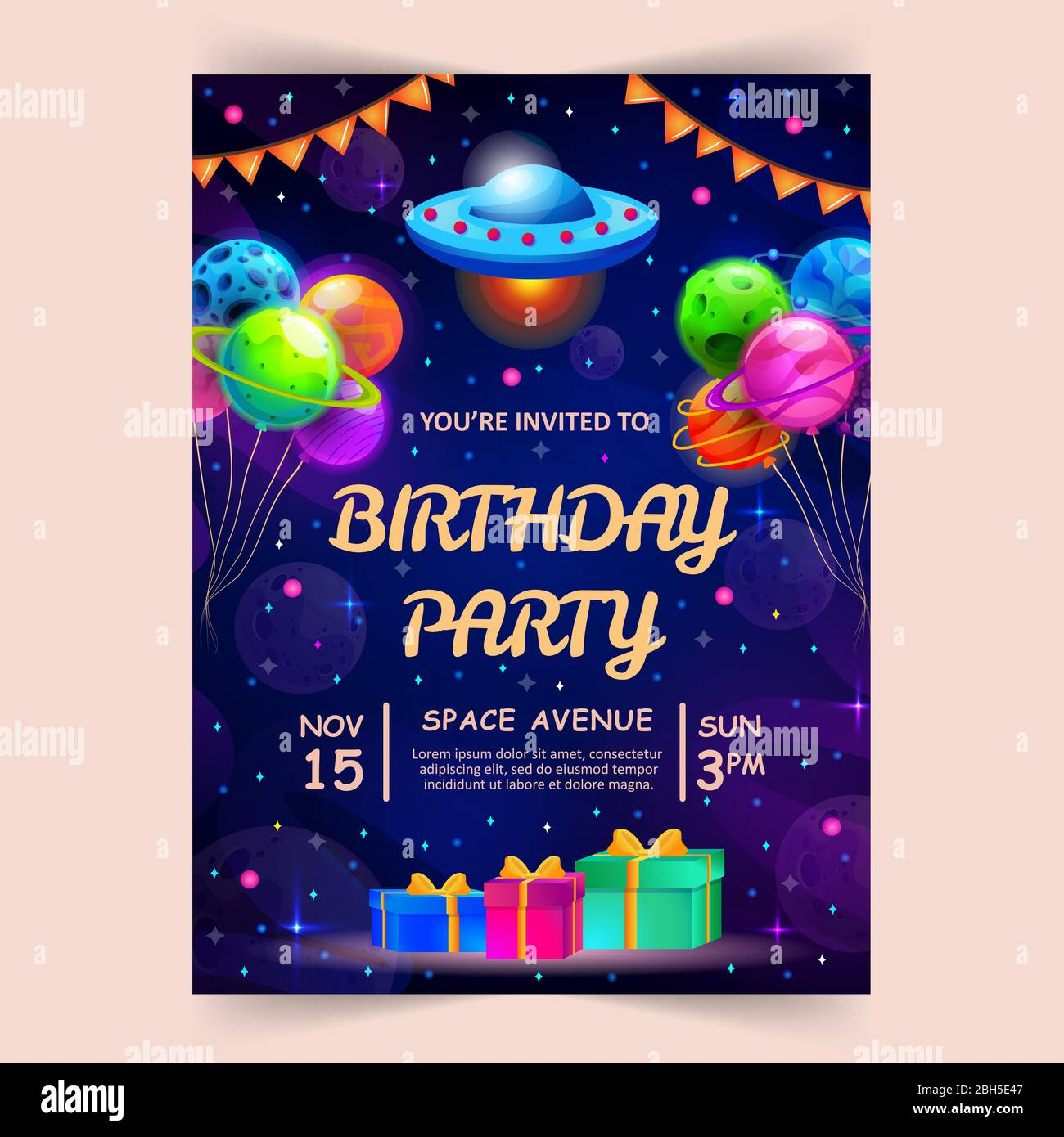https www alamy com kids birthday party invitation card with cute little planets and ufo space universe and sky background vector illustration image354777367 html