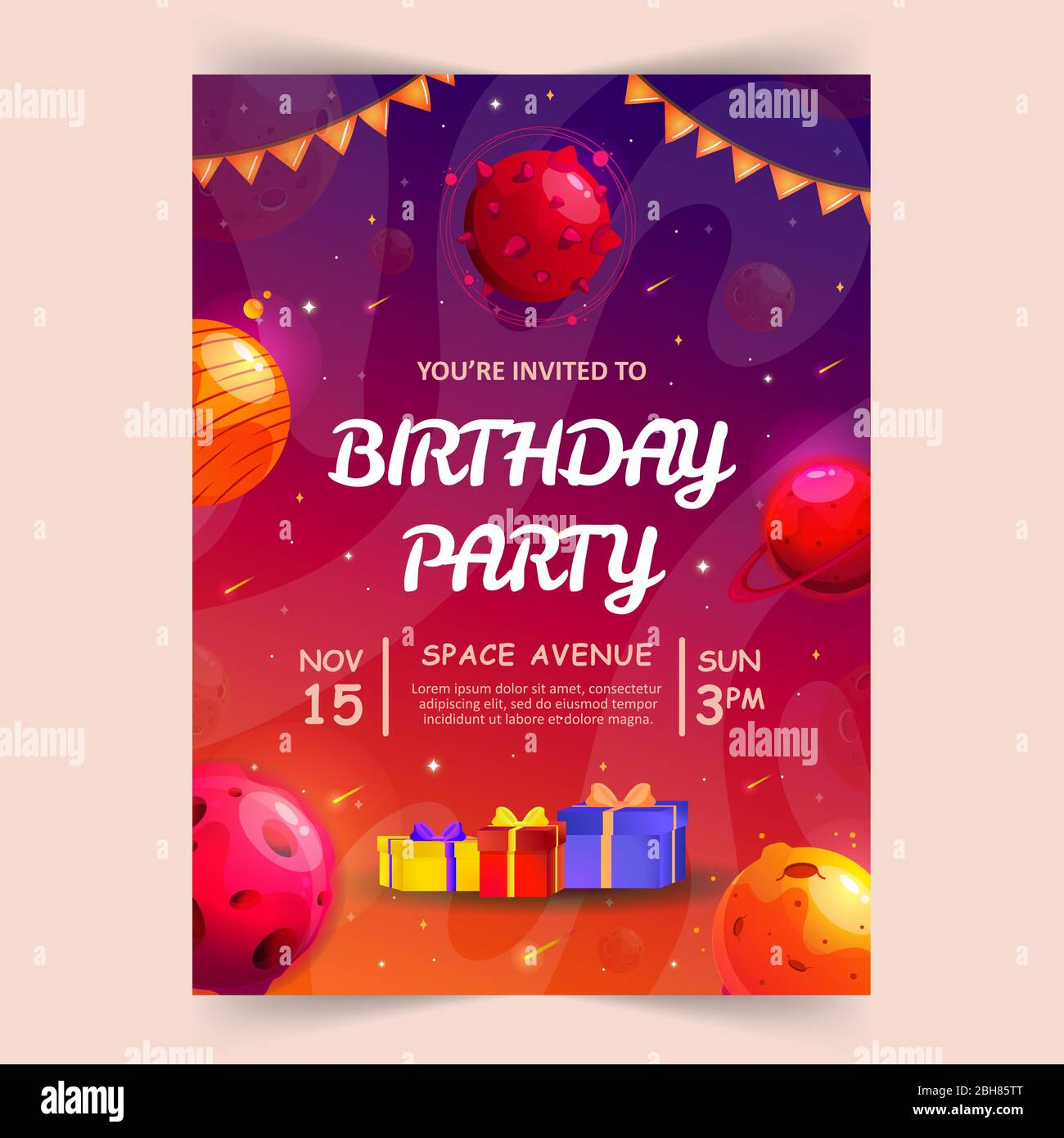 https www alamy com kids birthday party invitation card with cute little planets space universe and sky background vector illustration image354836744 html