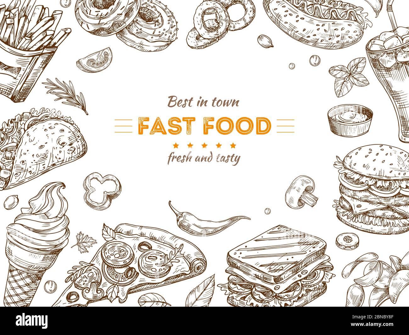 https www alamy com fast food background sketch drawing hamburger cola snacks doodle ice cream pizza and sandwich fast food restaurant vector poster illustration of fast food doodle dinner menu banner image357378015 html