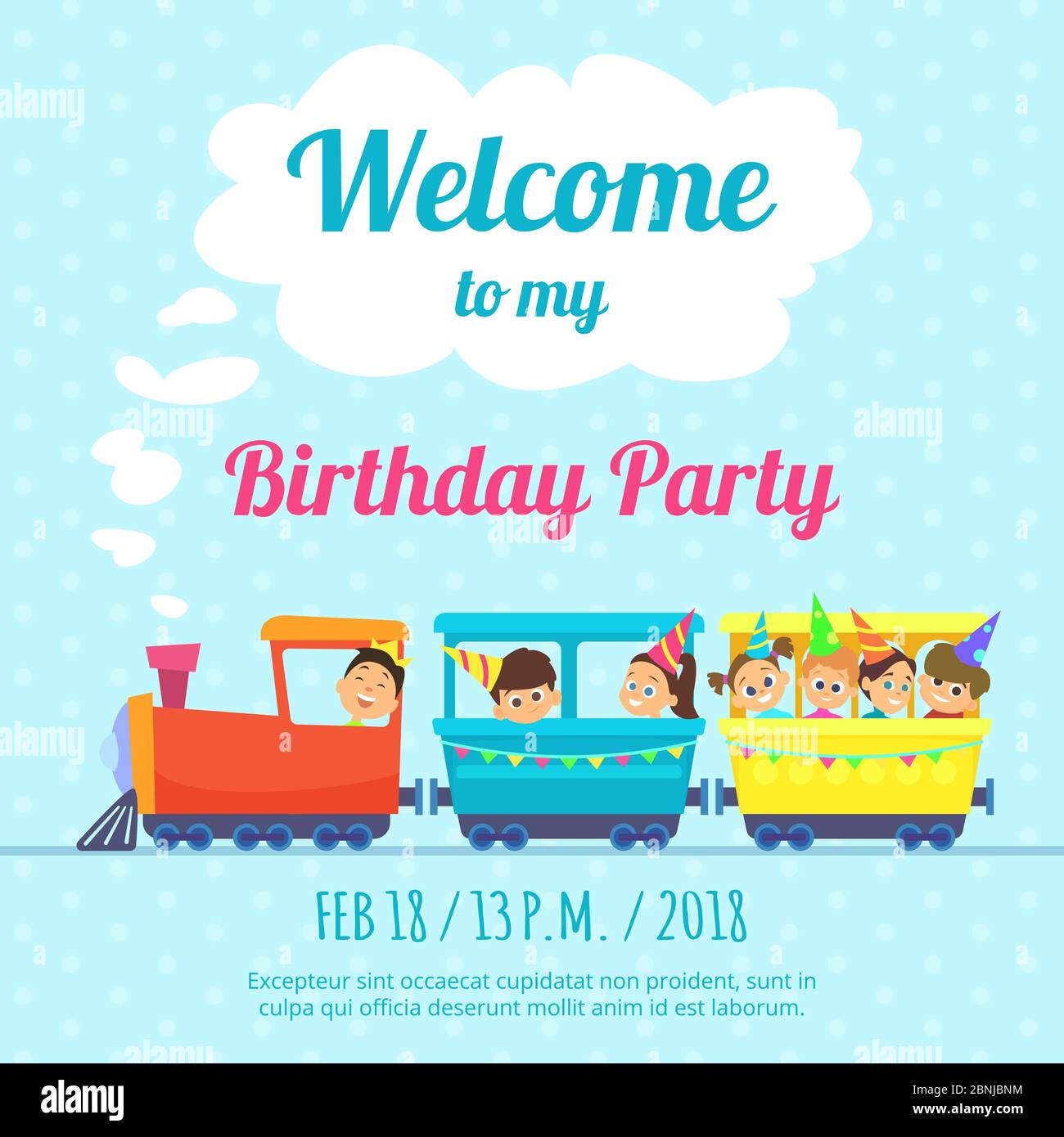 https www alamy com design template of poster for kids party invitation illustration of train toys image357519504 html
