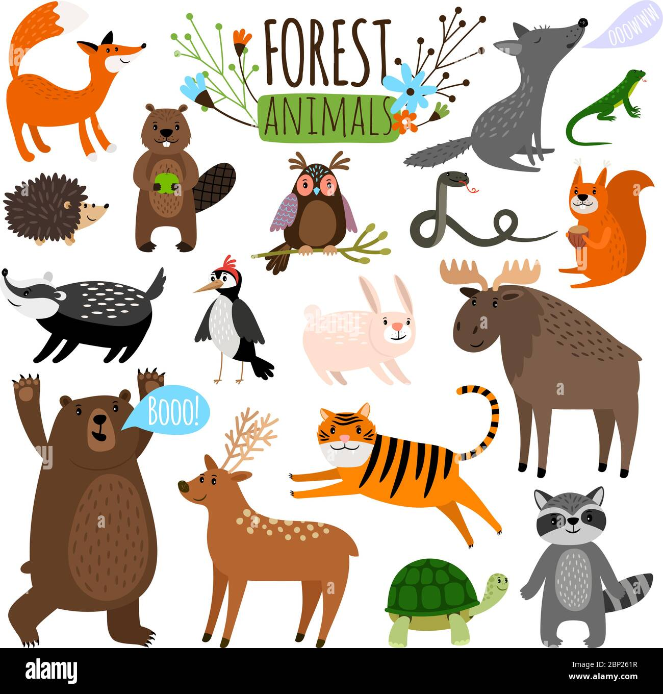 The animals that live in temperate evergreen forests include black bears, brown bears, deer, elk, small rodents, robins, owls, hares, raccoons, newts, flea the animals that live in temperate evergreen forests include black bears, brown bear. Forest Animals Woodland Cute Animal Set Drawing Vector Illustration Like Moose Or Deer And Raccoon Fox And Bear Isolated On White Stock Vector Image Art Alamy