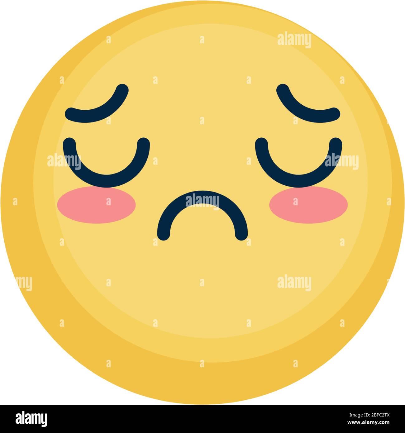 Cute Sad Emoji Face Icon Over White Background Flat Style Vector Illustration Stock Vector Image Art Alamy