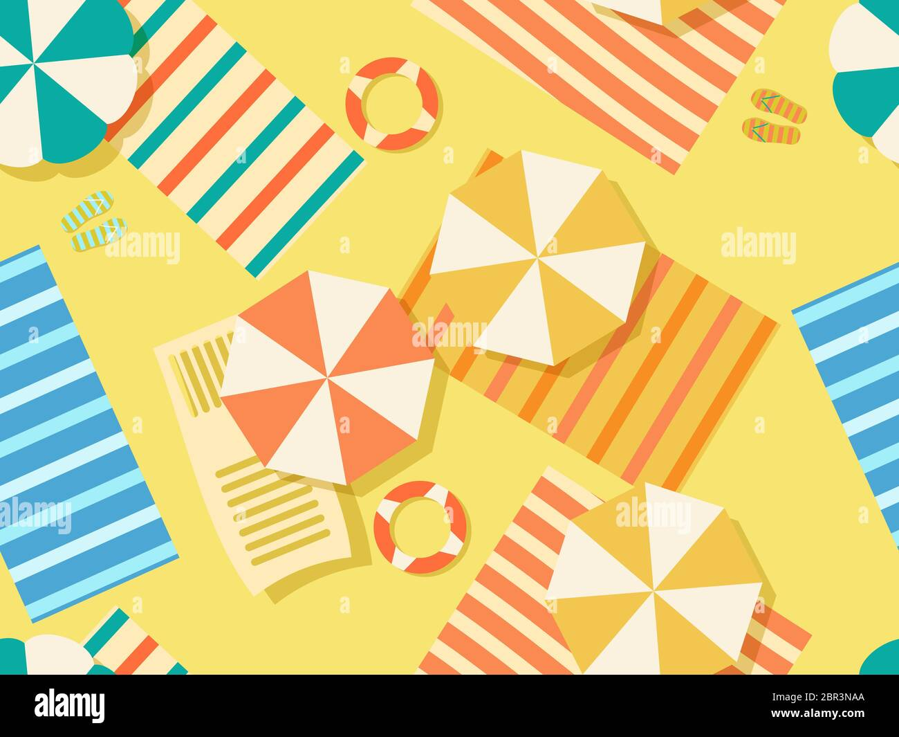 https www alamy com seamless beach pattern top view chaise lounge with beach umbrella and towel on the sand flat design style summer beach vacation vector illustrati image358427058 html