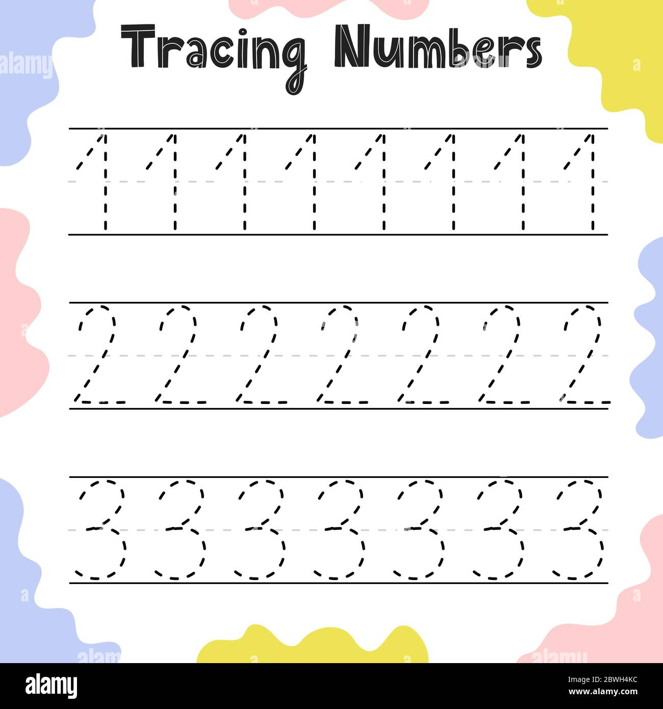 Numbers 1 2 3 Tracing Practice Worksheet For Kids Stock