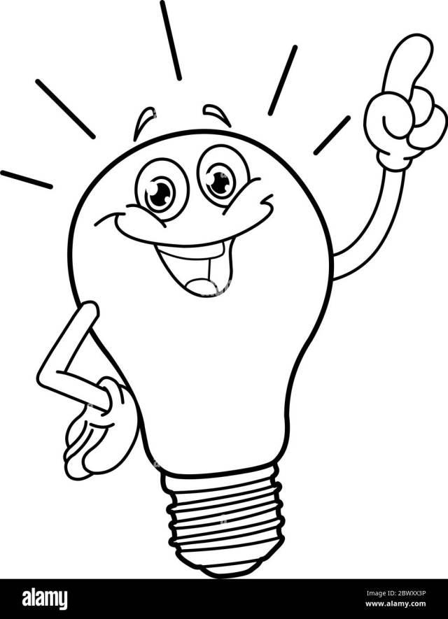 Outlined cartoon light bulb. Vector line art illustration coloring